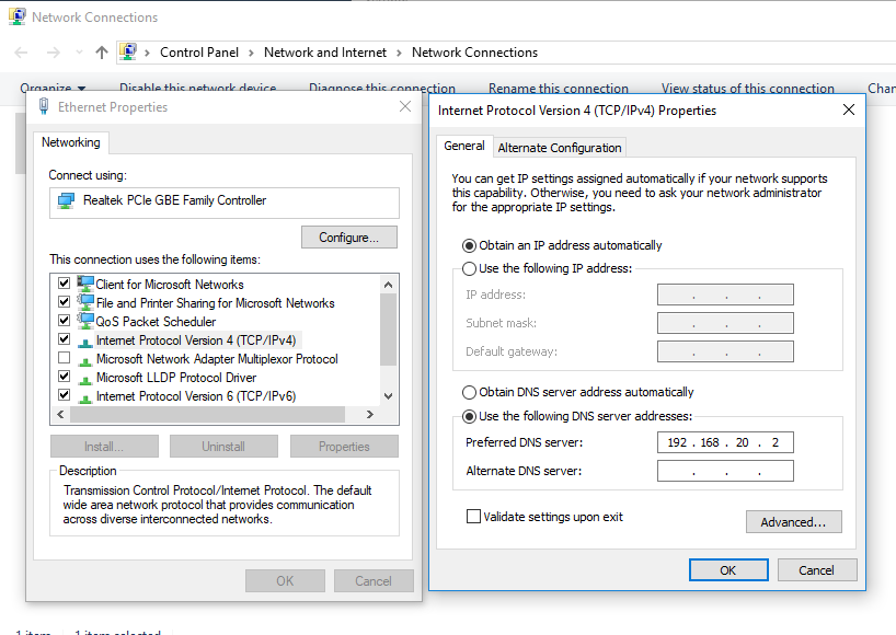 The easiest way to connect to an existing Windows domain via Windows